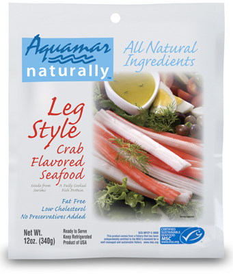 Aquamar Naturally 12 oz Leg Style Crab Flavored Seafood Package
