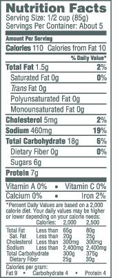 Aquamar 16 oz Crab Leg Style Nutrition Facts