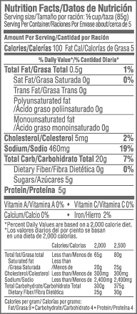 Marazul 16oz Crab Barras/Leg Style Nutrition Facts Table